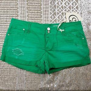Indigo Rein Green Distressed Jean Shorts